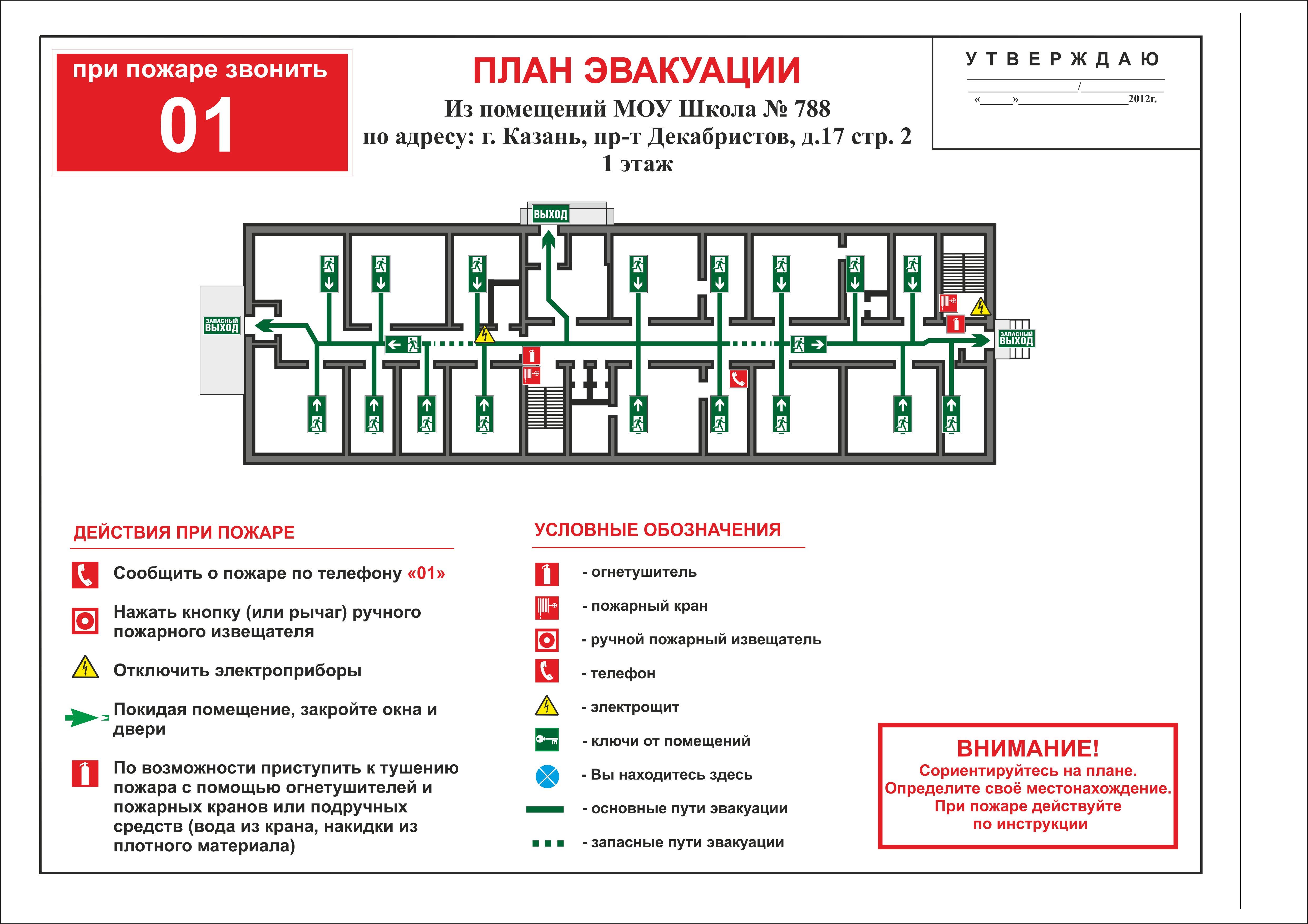 план эвакуации в школе - пример