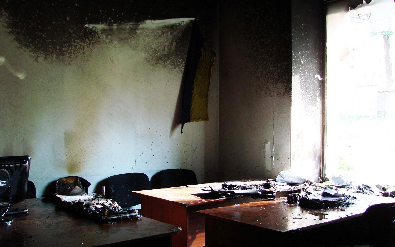 последствия пожара в офисе